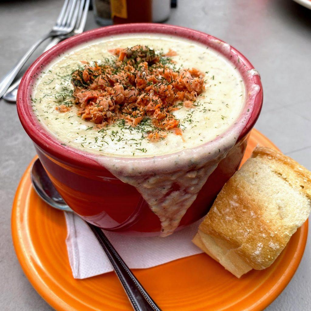 Bowl of smoked salmon chowder, Humpy's